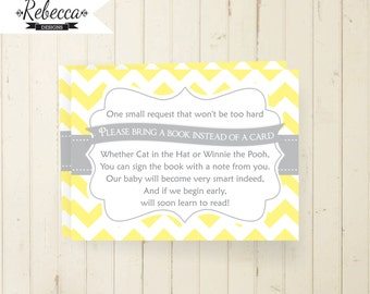 bring a book instead of a card bring a book card printable chevron gray and yellow baby shower insert card grey baby shower invite 104 134