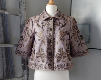 Lavendar/Peter Nygard/Womens/Crop Jacket/Size 10/1980s/Embroidered/Vintage