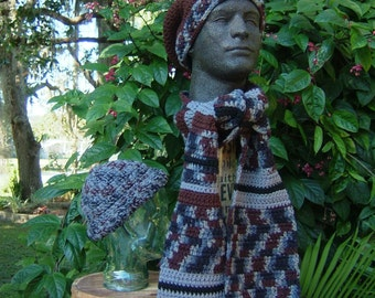 XL Mans hats and scarf set , Big Man's Winter Accessories, XL Slouchy Hat , Big Mans  Beanie and Scarf