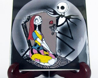 Jack Skellington and Sally from The Nightmare before Christmas Ceramic Tile wall hanging home decor handmade tim burton memorabilia cult M21