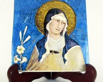 St Clare of Assisi - religious gifts - religious icon on ceramic tile - holy art - catholic saints serie - Saint Clare - Santa Chiara