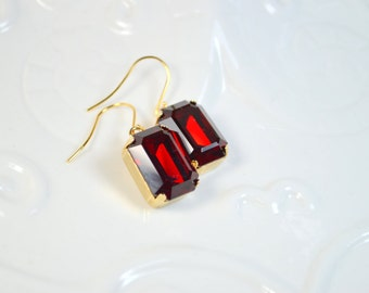 Swarovski Crystal Ruby Red Octagon Earrings - Gold Plated