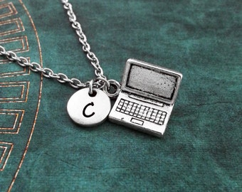 Laptop Necklace, SMALL Computer Necklace, Technology Necklace, Tech Gift, Computer Gift, Long Distance Relationship Gift, Internet Necklace