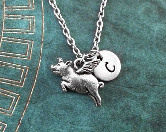 Flying Pig Necklace SMALL Pig Pendant Necklace Personalized Necklace When Pigs Fly Gift Good Luck Gift Pig Necklace Pig with Wings Necklace