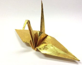 """100 Origami Paper Crane in Gold With Rose Pattern 6"""" inch Origami Paper Origami Cranes Origami Paper Cranes"""