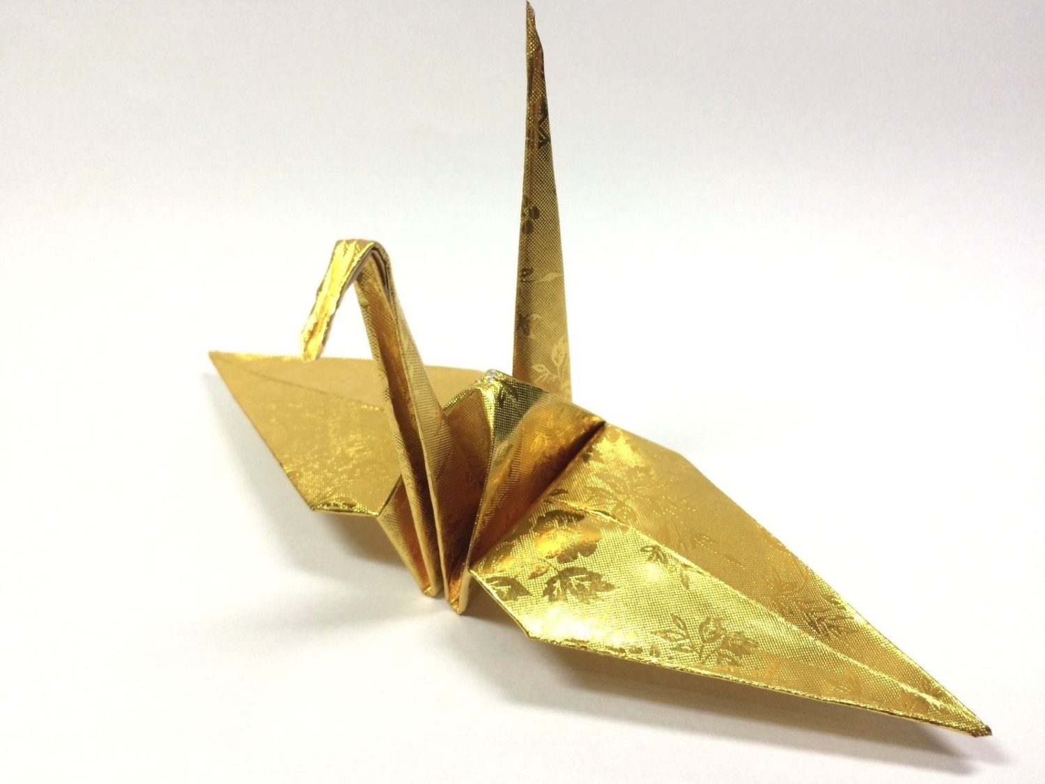 100 origami paper crane in gold with rose pattern 6 inch