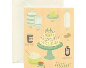 Cake Ingredients Birthday Card - ID: BIR044