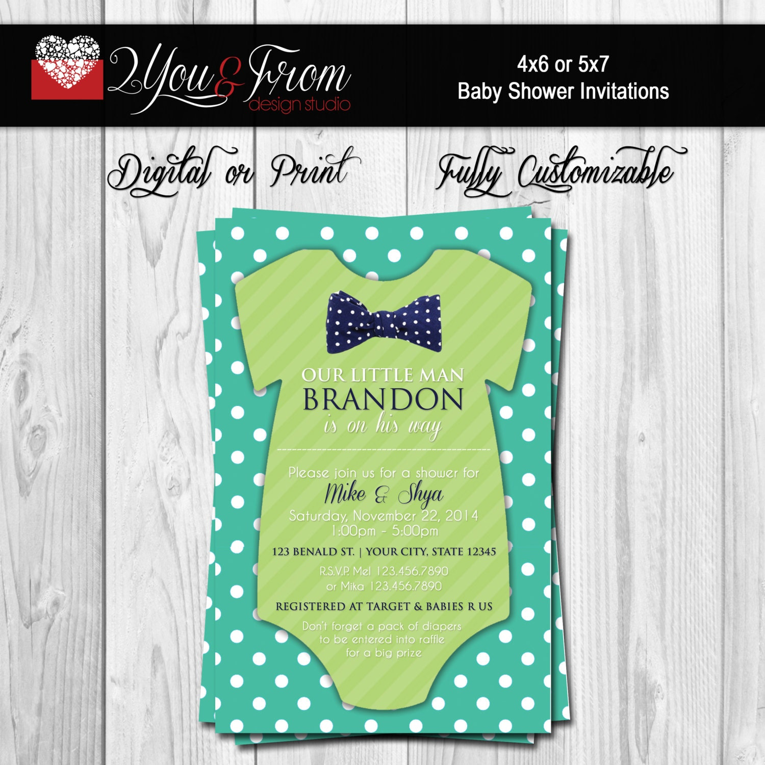 onesie bowtie baby shower invitations baby shower