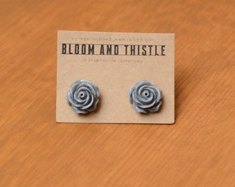 The Ella: grey rose cabochon earrings