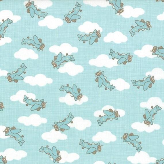 Airplane quilt fabric moda story book 13115 aqua baby quilt for Childrens airplane fabric