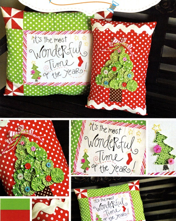Christmas Pillow Pattern, Kimberbell KD123 Most Wonderful Time of the Year, Christmas Decor, Yo Yo Christmas Tree Pattern