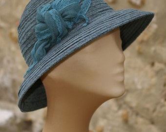 Nice winter warm Hat blue green ,one of a kind