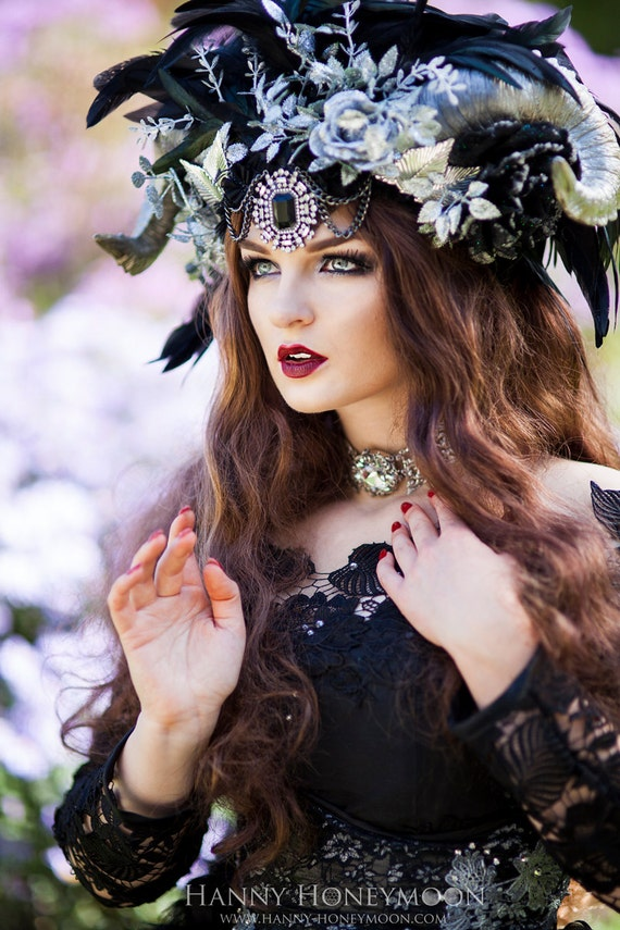 Ready to Ship beautiful Vampire Headdress Flower Trim Faux Horns Headpiece
