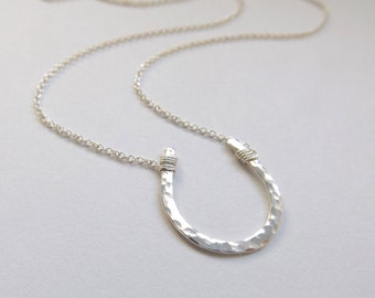 Large Silver Hammered Horseshoe Necklace // Cable Chain