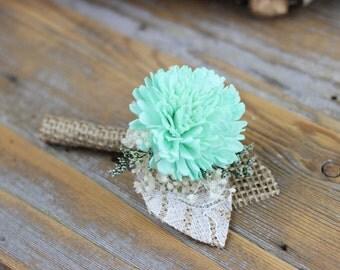 Mint Boutonniere,Groom Boutonniere,Sola Flower Boutonniere,Wedding Boutonniere,Handmade Boutonniere,Burlap Boutonniere