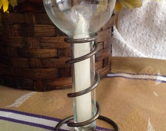 Studio Silversmiths Unity Candle, Glass with silverplated stand and white candle