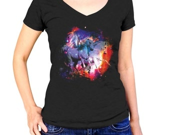 Galaxy unicorn shirt etsy for Space unicorn fabric
