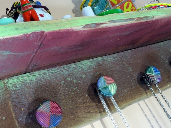 Floating shelves reclaimed pallet wood decor /hanging accent shelving /jewelry wall storage shelf/ necklace holder made to order 5 knobs