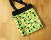 Halloween trick or treat bag  tote. Main fabric green and decorated with spiders