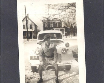 1940 B&W Photo Military Uniformed Man on Car