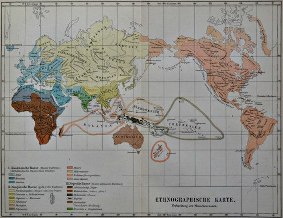 Ethnography map. Maps.  Old book plate, 1904. Antique  illustration. 110 years lithograph. 9'6 x  11'9 inches.