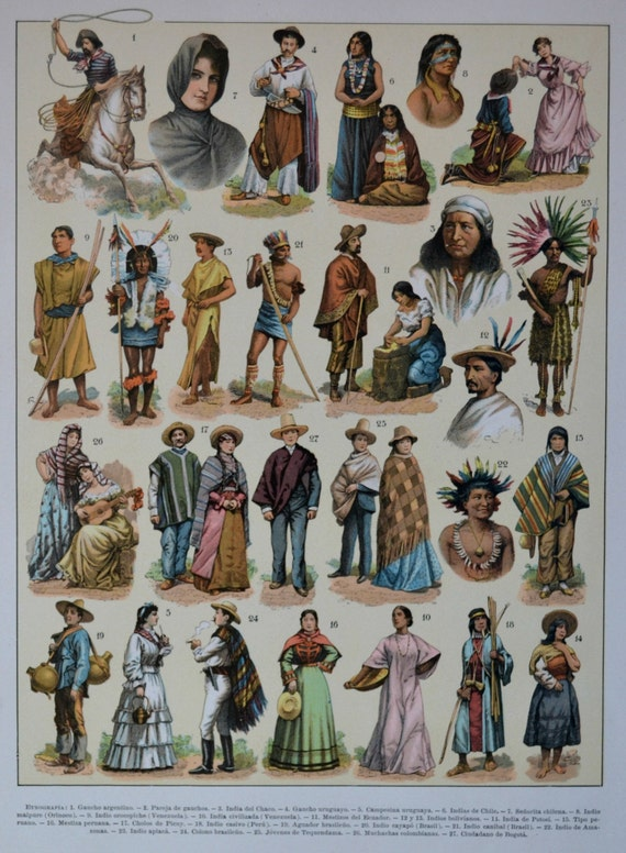 South America cultures. Old book plate, 1910. Antique  illustration. 105 years lithograph. 9'4 x  12'5 inches.
