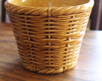 Vintage Amber Ceramic Pottery Wicker Basket Planter