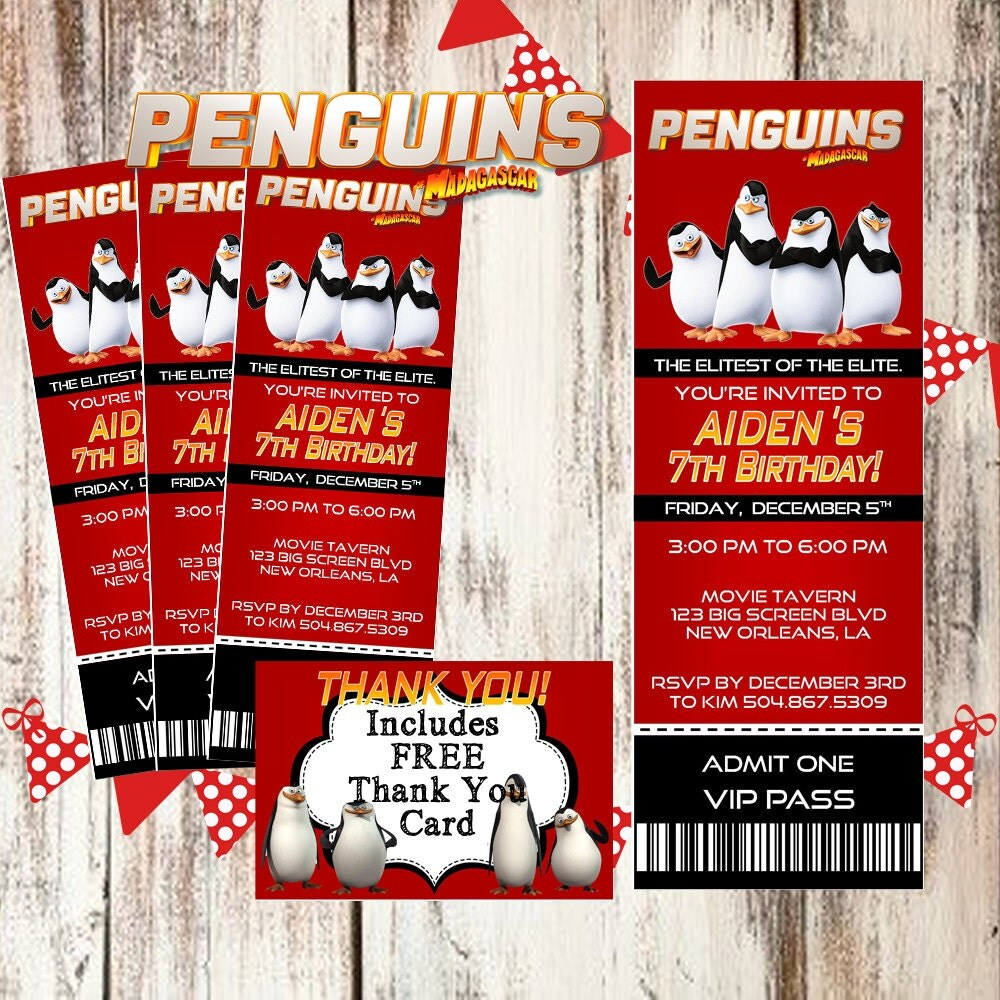 vip pass penguins of 2014 movie pass birthday party ticket invitation personalized customized printable thank you card