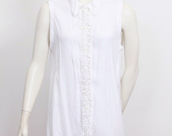 Summery sleeveless blouse, top, white, embroidery, lace, loose fit, 80s, VINTAGE wholesale ID:5283