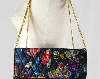 Vintage 1991 Nicole Miller Quilted Cosmetic Make Up Print Purse / 3-in-1 Cross Body Bag or Double Chain Purse or Clutch
