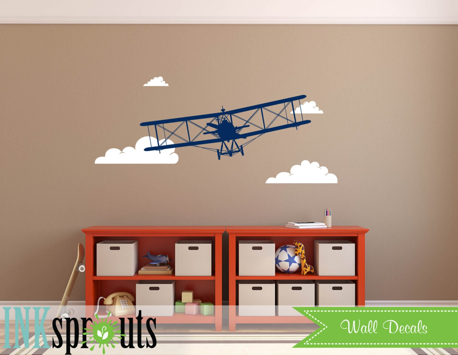 Airplane decal biplane decal large biplanetransportation decal airplane decal biplane decal large biplanetransportation decal skys the limit modern nursery nursery decals baby decals amipublicfo Gallery