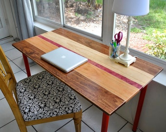 Colorful Wood Desk with Round Metal Legs
