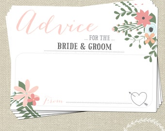 Wedding Advice Cards for the Bride and Groom / Wedding Messages / Keepsake Words of Wisdom / White Vintage Floral / Wedding Advice Cards