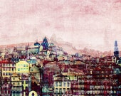 City skyline, city photography, Porto city print, Portugal, colorful urban wall art, urban abstract wall decor, office decor, home decor