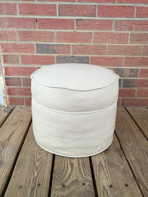 Vintage mid century modern hassock off white ottoman foot for Small storage hassocks