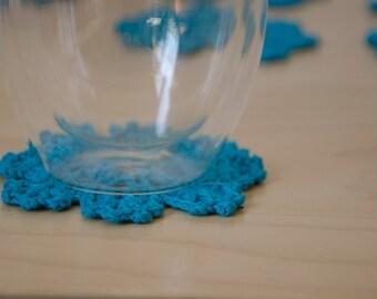 Set of 6 Crochet Coasters - Cotton Coasters- blue/aqua