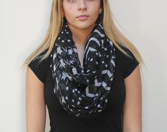 Free shipping in USA- Black Chevron Fashion Infinity Scarf with Houndstooths  and zigzag prints/women's fashion chevron scarf/ gift for her