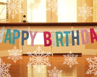 "6"" Wintry Snow Prince or Princess Felt Birthday Banner"