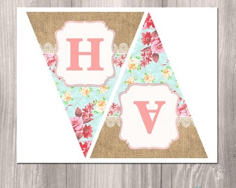 Shabby Chic Printable Banner, Floral Banner, Girl Birthday Banner, Tea Party Banner, Printable Banner, Burlap banner, digital banner