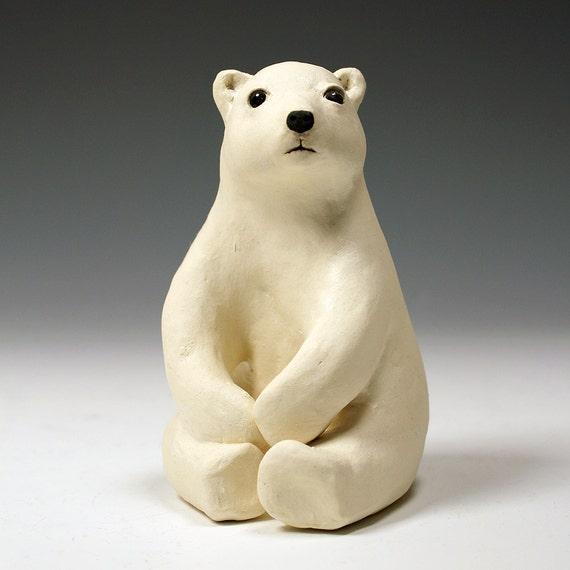 articles similaires assis ours polaire art original unique tir de sculpture animale en. Black Bedroom Furniture Sets. Home Design Ideas