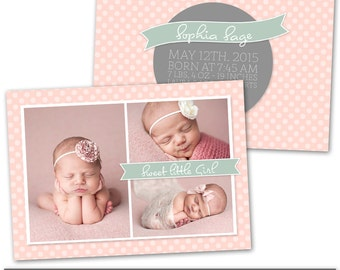 PSD Photoshop Template Newborn Birth Announcement Card Template - NC151