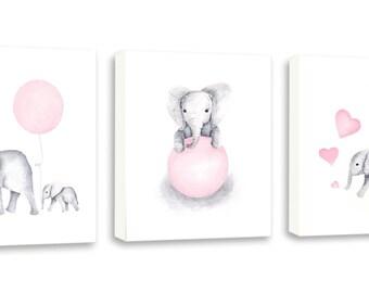 Elephant Nursery Decor Baby Pink Nursery Art, Light Pink and Gray, Set of Three, Canvas Prints, Baby Elephants - S052W