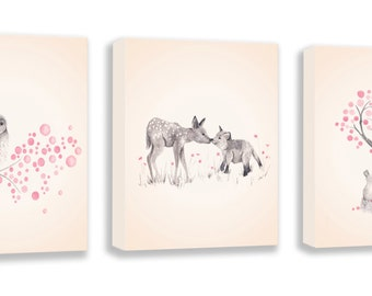 Baby Girl Nursery - Woodland Nursery Art - Pink and Gray Nursery Decor - Fox, Deer, Rabbits and Owl - Artwork for Children - S037B