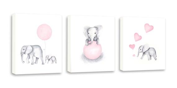 elefant kinderzimmer dekor baby rosa kinderzimmer kunst rosa