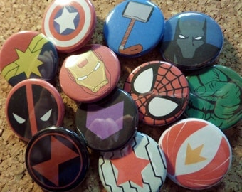 Avengers Buttons - Iron man, Captain America, Thor, Hulk, Captain Marvel, Bucky, Black Widow, Hawkeye, Spider-man, Falcon, Black Panther