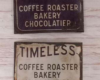 Miniature Dollhouse Tin Signs - Timeless Coffee Shop Sign