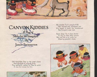 "Original Good Housekeeping cartoon ""Canyon Kiddies"" by James Swinnerton 1930s, 8x11 in. - Kids 690"