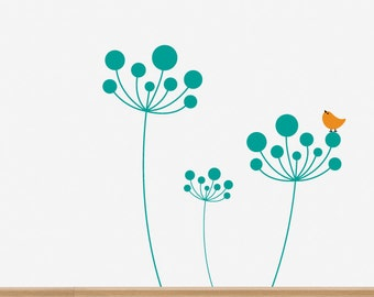 Flower and Bird Removable Wall Decal