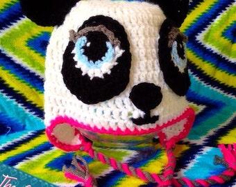 Panda Bear Earflap Hat Crochet Pattern : Items similar to Made to Order - Crochet Panda Earflap Hat ...