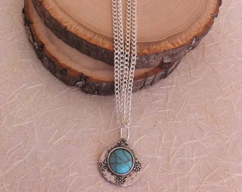 Double Stranded Silver Chain with Turquoise and Sterling Silver Reversible Pendant Necklace